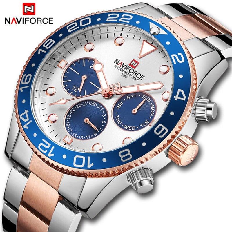 NAVIFORCE Top Marque De Luxe Chronographe Date Mens Montres Militaire Sport Homme Horloge Bracelet En Acier Affaires Poignet Quartz Hommes Montre