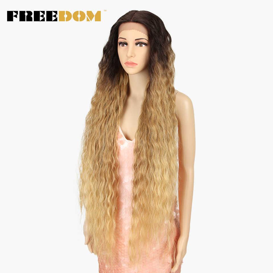 Pelucas delanteras de encaje sintético libertad 40 pulgadas de cena larga onda Natural profundo Ombre Rubio 613 pelucas de pelo para negro de moda de las mujeres