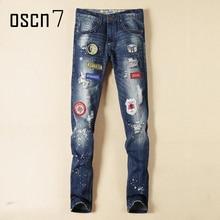 OSCN7 Wash Blue Hole Designer Mens Jeans 2017 Latest Plus Size Leisure Ripped Jeans Spandex for Men Slim Fit Denim Pants
