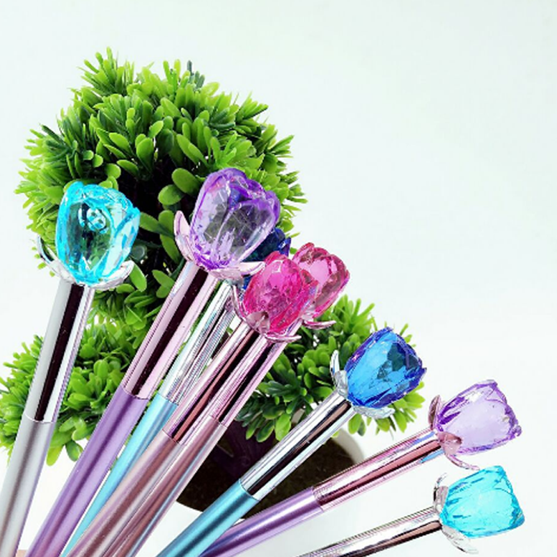 6 Pcs/set Creative Crystal Rose Gel Pen Color Plating Pens Fountain Pen Stationery Office And School Supplies Stationery Gift