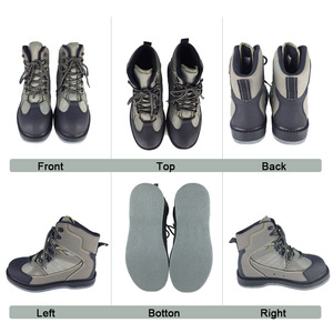 Image 4 - Fly Fishing Shoes Wading Hunting Upstream Leaking Water Shoe Felt Sole Breathable Professional Rock Leather Lace up Shoes FM2