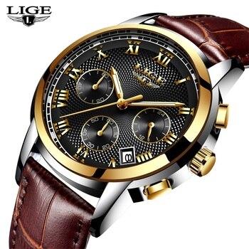 LIGEนาฬิกาผู้ชายแฟชั่นกีฬาควอตซ์นาฬิกาบุรุษยอดนาฬิกาแบรนด์หรูทองหนังกันน้ำสบายๆดูRelógio Masculino