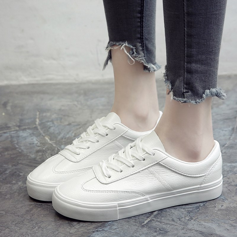 NIS Women White Casual Flats Shoes Microfiber Leather Round Toe Women Black White Ladies Lace-up Flat Shoes Spring and Summer  nis women air mesh shoes pink black red blue white flat casual shoe breathable hollow out flats ladies soft light zapatillas