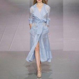Image 2 - TWOTWINSTYLE Voile Lace up Giacca A Vento Delle Donne del Vestito Manica Lunga Piuma Tasche Sexy Vestiti Da Partito Donna Abiti Eleganti 2020