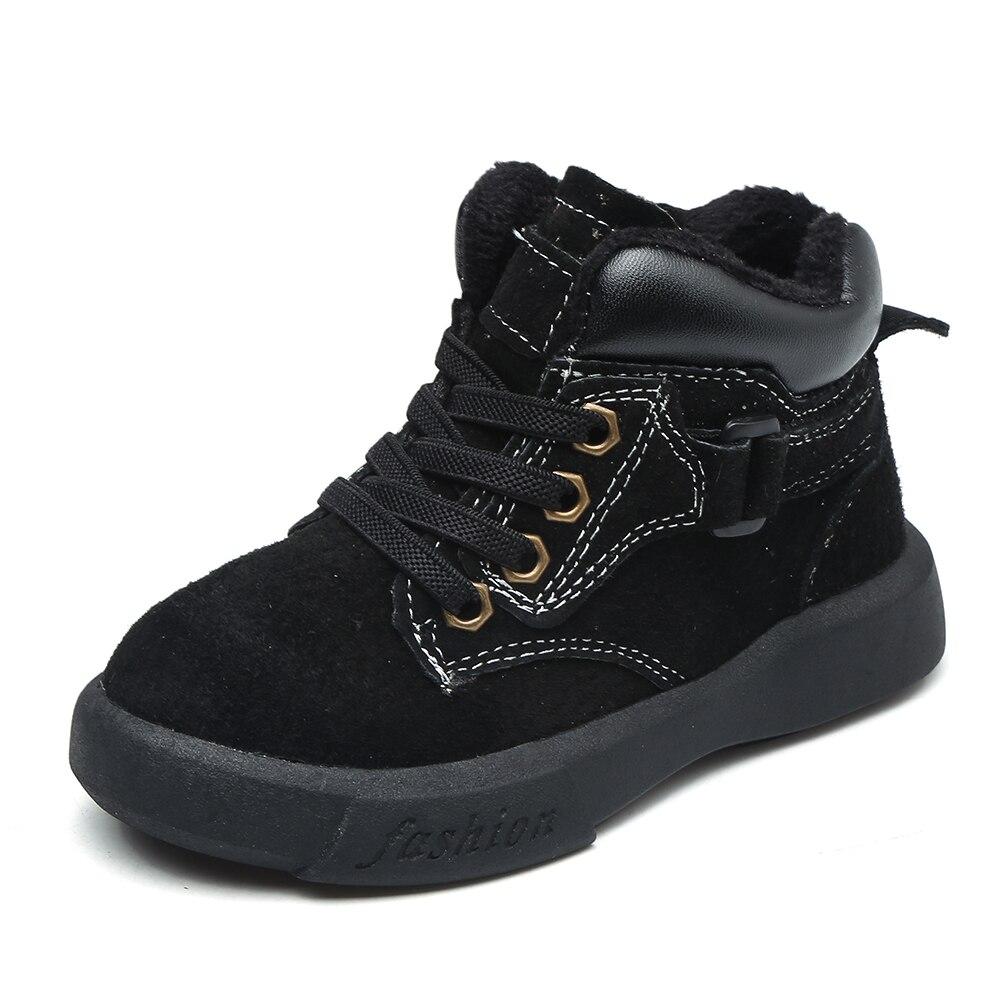 Pouco meninos ankle boots moda cáqui marrom preto flexível sole botas quente botas de couro genuíno chaussure zapatos de bebe crianças SandQ