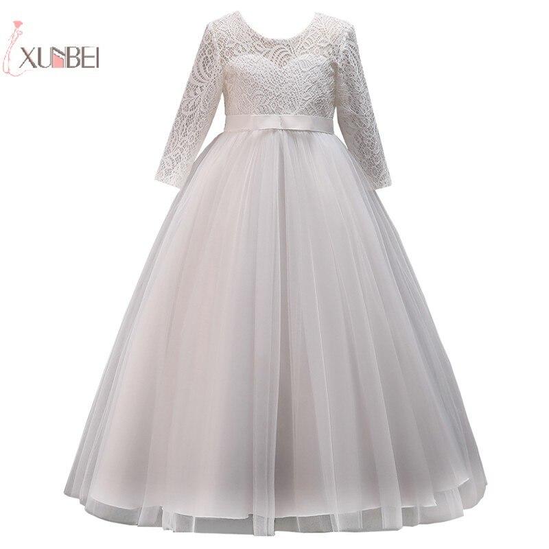 2019 Tulle Lace Kids   Flower     Girl     Dresses   Half Sleeve Wedding Party Pageant Gown communion   dress   vestidos de comunion