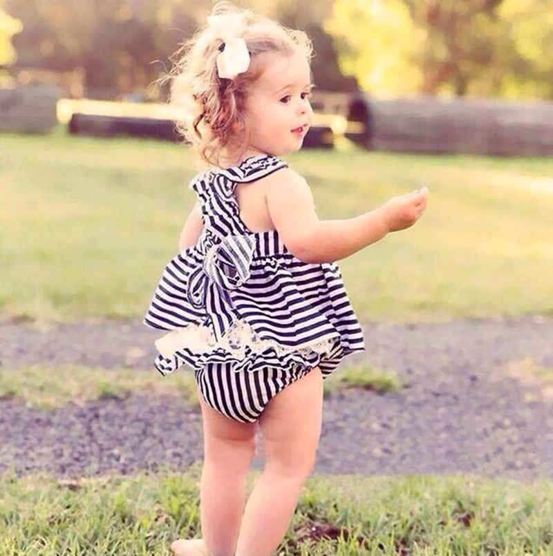 502aee9a5d759 ... Hot Sale Newborn Infat Baby Girls Clothes Summer Sunsuit Outfit Stripe  Backless Dress Briefs Set ...