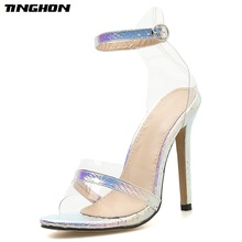 TINGHON Women Summer Sequined Cloth Sandals Transparent Thin High Heel Pointed Toe Buckle Strap Shoes Sliver Size4-11