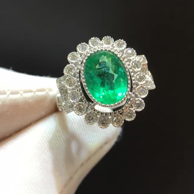 1 512ct 0 439ct 18 Karat Gold Naturlichen Smaragd Frauen Ring Mit