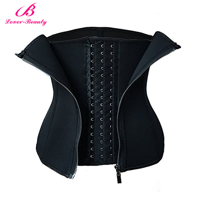 Lover Beauty Clip and Zip Waist Trainer Corset Women Neoprence Worked Out Sweat Double Layer-high Compression Body Shapers