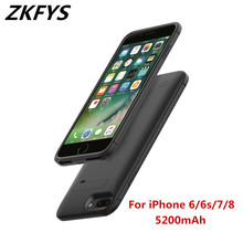 High Quality Power Case 5200mAh Portable Shockproof Battery Charger Cover For iPhone 6 6s 7 8 External Power Bank Battery Case цены