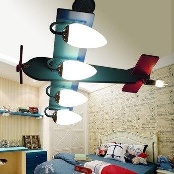 Catoon Creativo di Legno Fatta di Stile Aeromobili Montaggio A Filo della Luce di Soffitto con 4 Teste di E14 HA CONDOTTO Le Lampadine per I Bambini Camera Dei Bambini studio