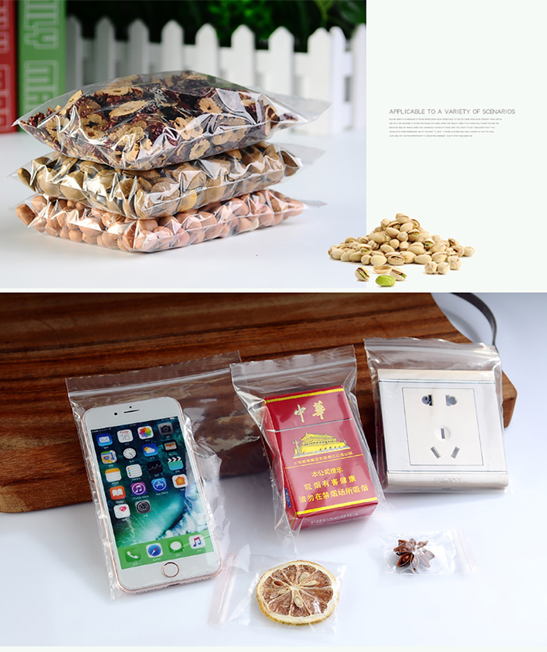 1 Transparent,Ziplock bag,Reseal,Zipper,Bulging ed edge,line,package,Store,Home,Office,food,magazine,Powder,granules.Dried fruit,tea,seasoning,whole grains,casual  (12)