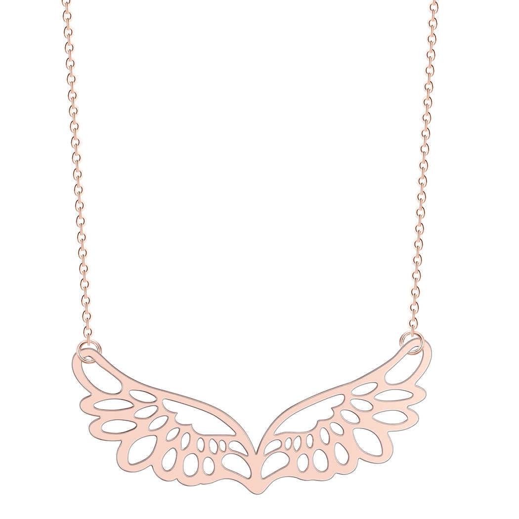 QIMING Angel Wings สร้อยคอผู้หญิงสไตล์ปีก Guardian ทองเงินเครื่องประดับสร้อยคอ