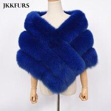 2019 New Womens Wedding Poncho Real Fox Fur Cape Genuine Natural Pashmina Shawl Top Quality Winter Warm S7467