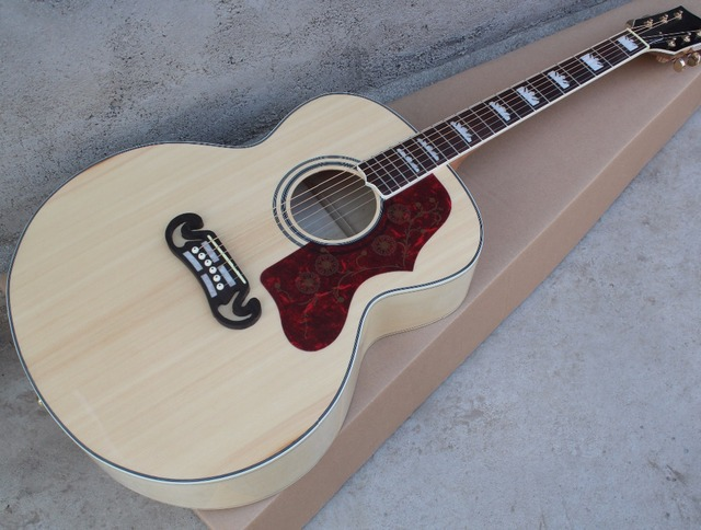 Wood Color 43 Acoustic Guitar With Golden Tuners Rosewood Fretboard
