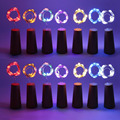 Thrisdar 20 unids/lote 10 leds 20 LEDs DIY cobre micro Alambres LED Cadena de luz botella de vino corcho Tapones Luz de hadas cadena Garland