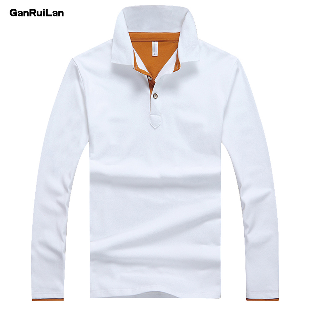 2018 Solid Polos Shirt Men Long Sleeve Cotton Mens Polo Tops Spring Autumn Brand Male Polo Classic Business Father Dress B0326