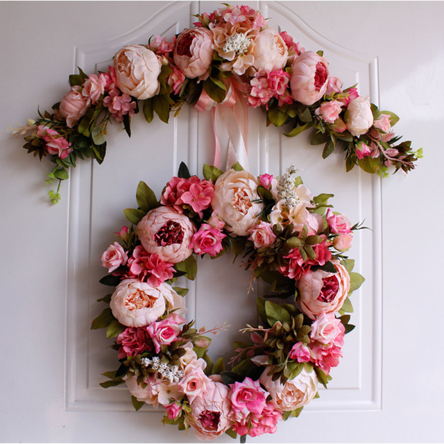 Rose Peony Artificial Flowers Garland European Lintel Wall Decorative Flower Door Wreath For Wedding Home Christmas Decoration 3