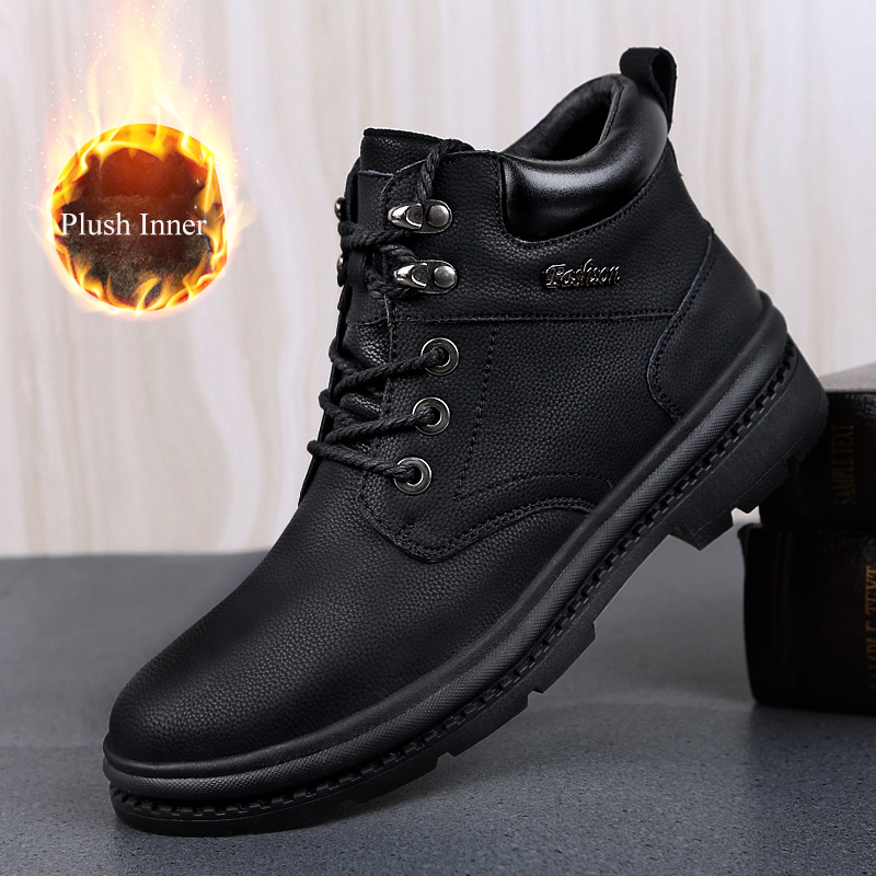 Stiefel Männer Echtes Leder Schuhe Winter Stiefeletten Männlichen Leder Schuhe Holz Land Schuhe Männer Outdoor Wandern Boot Mann Hohe qualität-in Basic Stiefel aus Schuhe bei  Gruppe 1