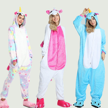 Winter Adults Animal Kigurumi Pajamas Sets Cartoon Sleepwear Women Unicorn Stitch Unicornio Warm Flannel Hooded Onesies