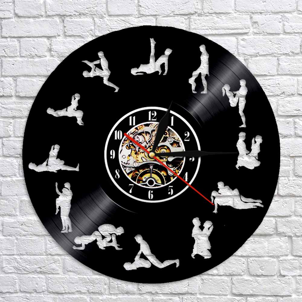 24 Hours Sex Position Vinyl Record Time Clock Kama Sutra Art Sex Love 3D Wall Clock Modern Wall Art Decor For Bedroom(China)