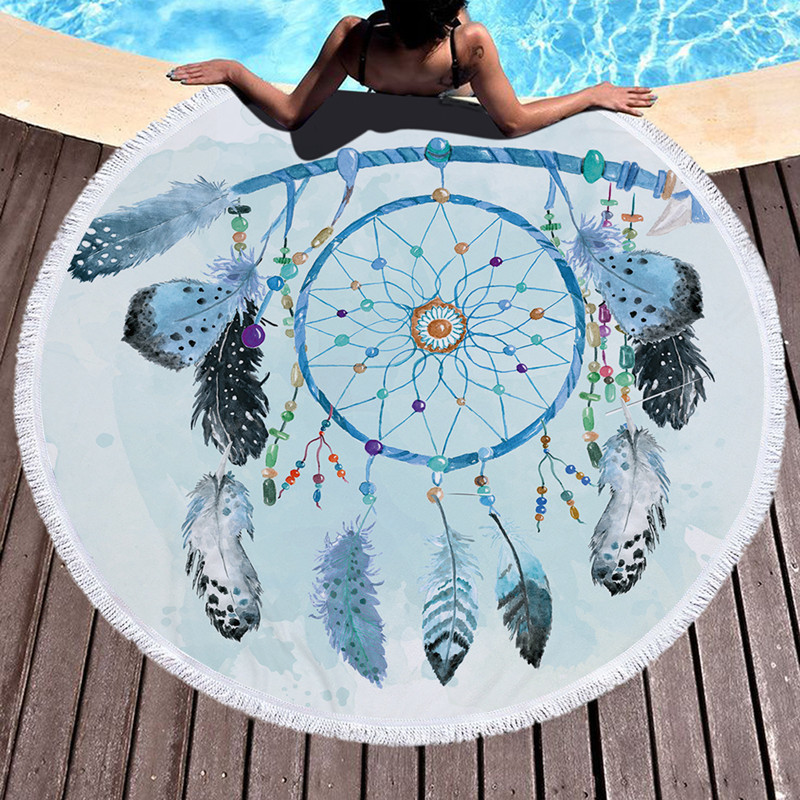 XC USHIO Round Beach Towel With Tassels Dream Catcher Printed Microfiber 150cm For Summer Swimming Picnic Tapestry Blanket