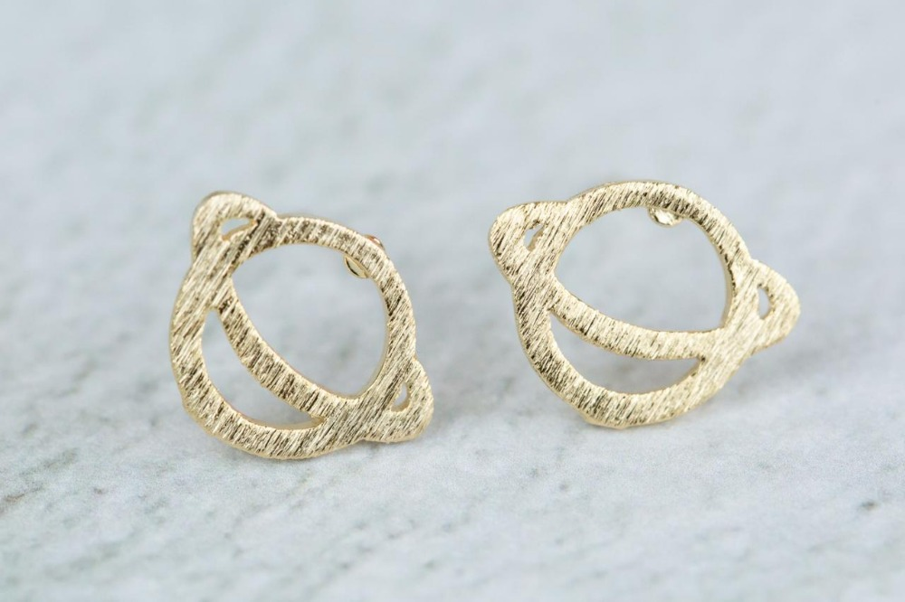 304 Stainless Steel Earrings Stud Silver Gold Saturn Geomertic ...