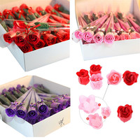 2018 Romantic 32Pcs Red Fuchsia Scented Rose Flower Petal Bath Body Soap Wedding Party Gift For