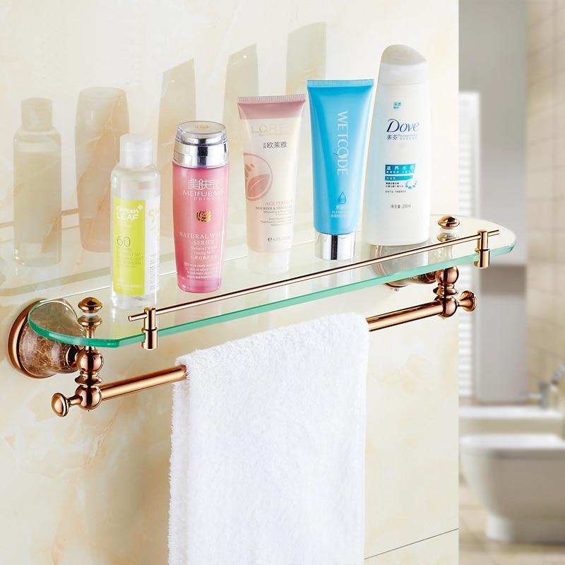 US $38.39 36% OFF|2 Stil Messing einreihigen bad regale gold, antike glas  regal badezimmer wand, Kupfer retro bad regal handtuchhalter-in ...