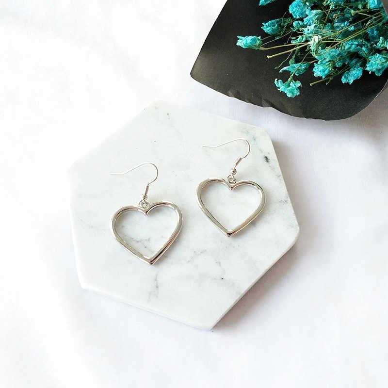 ZN جديد الجوف الهندسة أقراط القلب الحلو الذهب الحب أقراط النساء هدايا مجوهرات Orecchini Brincos Pendientes Oorbellen