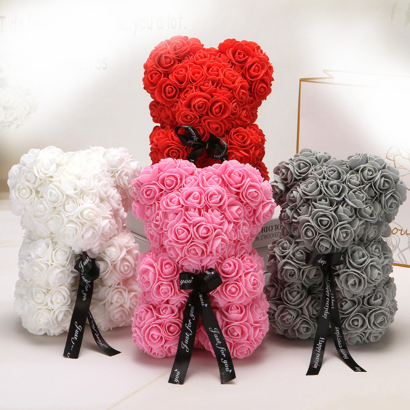 25cm Cartoon Bear Artificial Flowers  PE Rose Flower Christmas Gifts for Women Valentines Day Gift Holiday gift