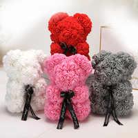 25cm dos desenhos animados urso artificial flores pe rosa flor artificial presentes de natal para presente do dia dos namorados feminino urso presente do feriado