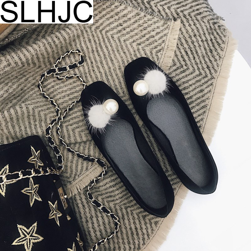 SLHJC Jelly Flats Shoes Women 2018 Spring Summer New Square Toe Flat Heel Pearl With Fur Ball Loafers Casual Daily Boat Shoes
