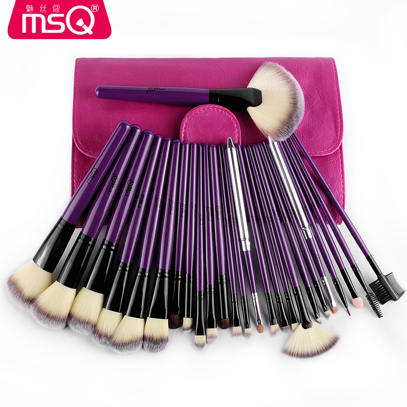 где купить MSQ 24pcs Professional Makeup brushes set Foundation Blush makeup brush Eye shadow brush Cosmetic bag Complimentary two brushes по лучшей цене