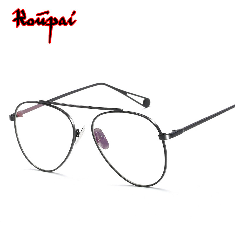 High Quality Metal Glasses Frame Women Men Anti Blue Light Eyeglasses Clear Lens Glasses Female Male Luxe Aviator Gozluk