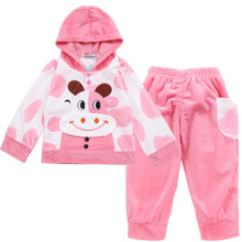 Warm Clothes For Girl Velvet Sport Winter Autumn Cow Rabbit Toddler Long Sleeves Hooded Top+pants1 2 3 year Baby Girl Clothes baby girl clothes child girl winter clothes suit 0 1 2 3 year old plus velvet thickening warm three pieces costume for boys