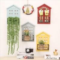 Wooden Decorative Wall Shelf Hanging House Storage Rack Bar Living Room Baffle Shelf Iron Net Wall