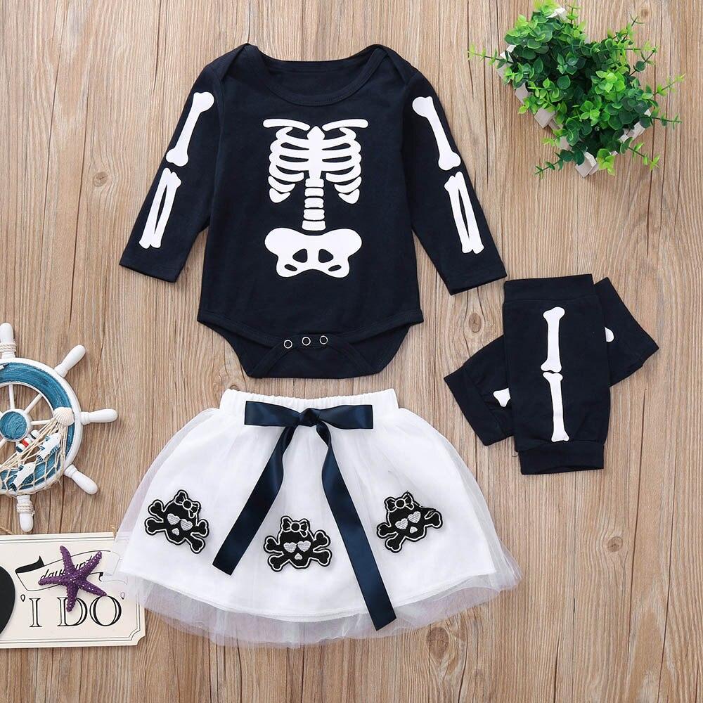 children clothing set Full sleeve O-Neck Romper Appliques Skull Skirt Leggings Halloween Outfits Set Toddler Baby Girls clothing Одежда