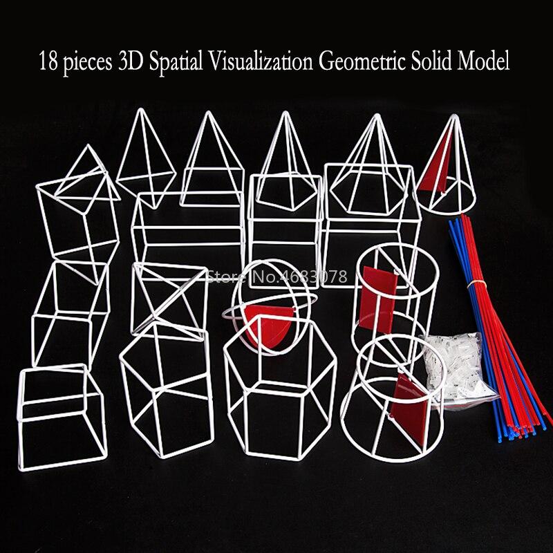 18 pièces/ensemble 3D visualisation spatiale géométrique solide modèle-lycée mathématiques géométrie aides visuelles outils d'enseignement jouet d'apprentissage