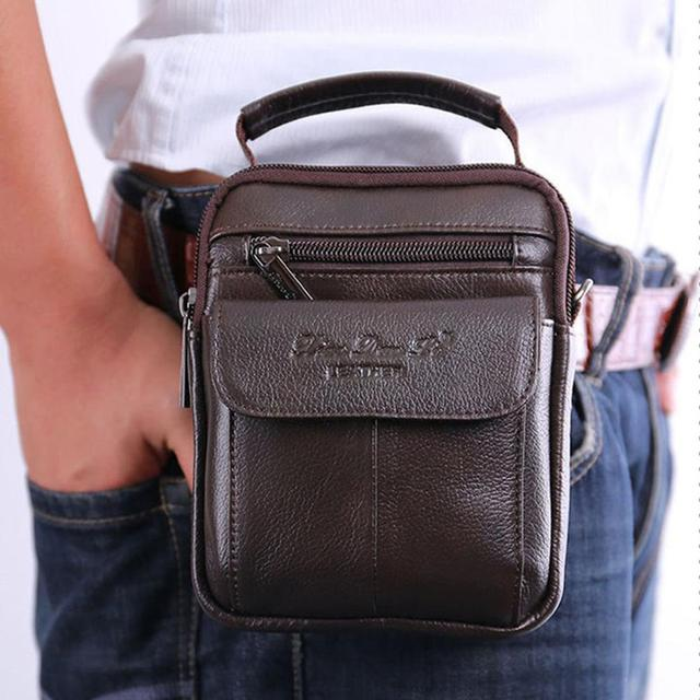 Men's Cowhide Genuine Leather Messenger Shoulder Cross Body Bag Pouch Waist Fanny Belt Hip Bum Tote HandBag Purse Men Pack