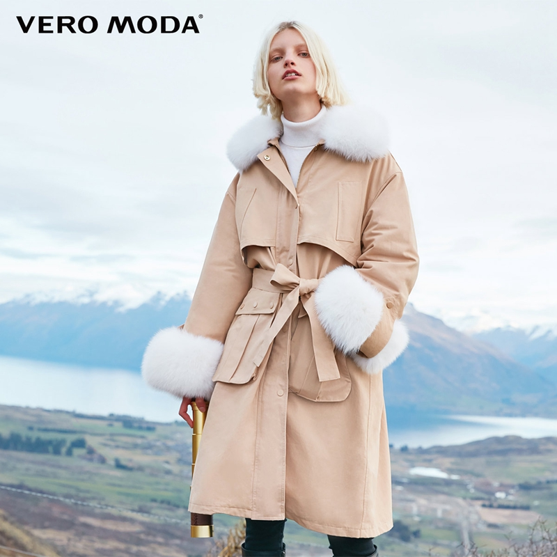Vero Moda Fox Fur Collar Long Down Jacket 318412511