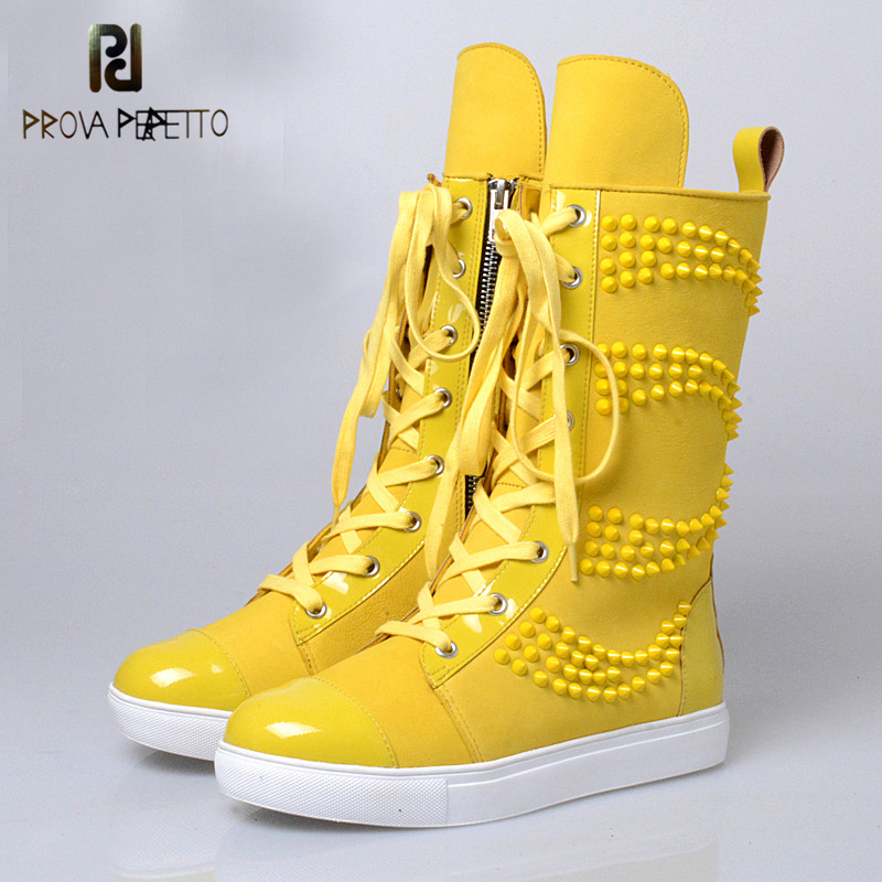 Prova Perfetto Fashion Young Girls Flats Casual Shoes Woman Genuine Leather Women Mid High Boots Yellow Blue Rivet Lace-Up Boots prova perfetto yellow women mid calf boots fashion rivets studded riding boots lace up flat shoes woman platform botas militares