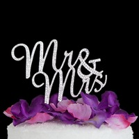 Silver Color Personalized Wedding Cake Tools MR MRS Custom For Wedding Party Cake Decor Free Shipping