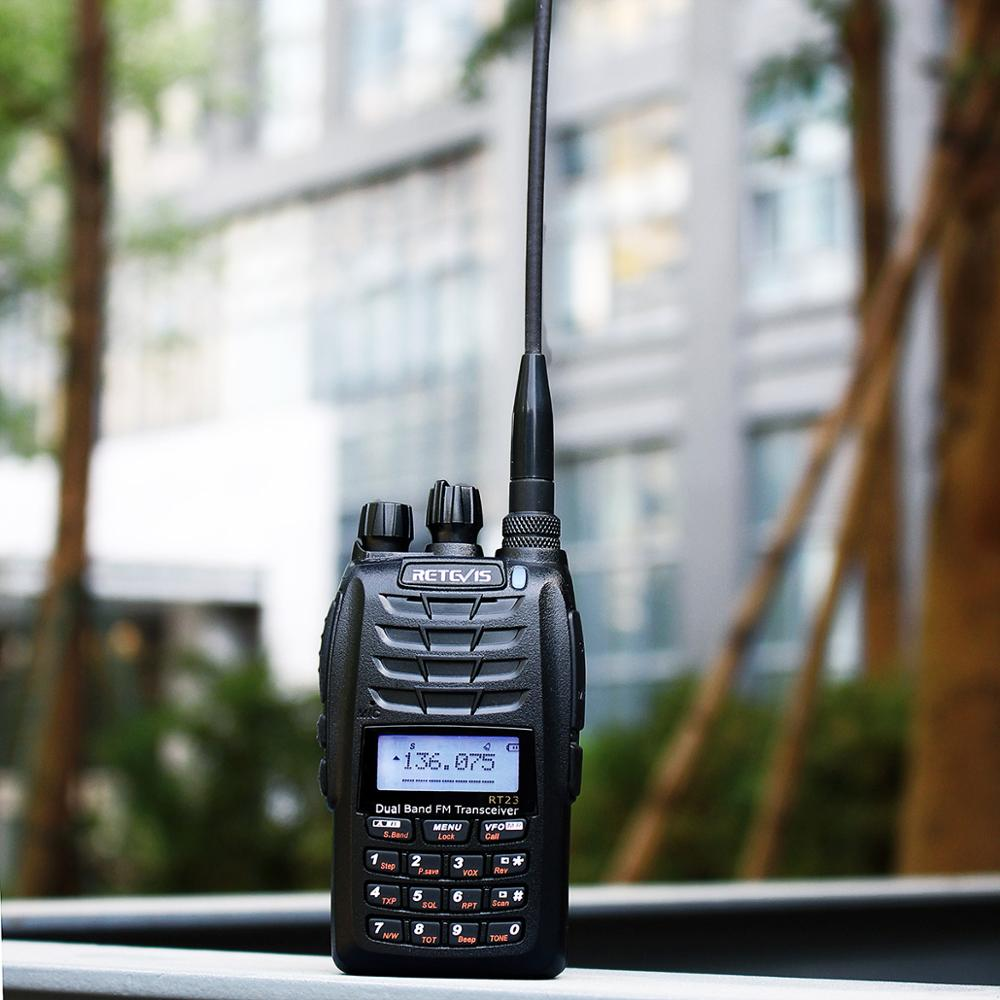 Retevis RT23 Dual Receive Walkie Talkie Dual PTT 5W 128CH VHF UHF Dual Band 1750Hz DTMF Scan FM Radio Cross-Band Repeater FuncRetevis RT23 Dual Receive Walkie Talkie Dual PTT 5W 128CH VHF UHF Dual Band 1750Hz DTMF Scan FM Radio Cross-Band Repeater Func
