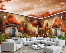 beibehang Super beautiful dream children's wallpaper mushroom house forest full house custom background wall papers home decor full house