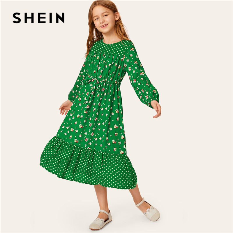 SHEIN Kiddie Green Dot Floral Print Drawstring Waist Girls Boho Dress 2019 Summer Holiday Lantern Sleeve Ruffle Hem Midi Dresses