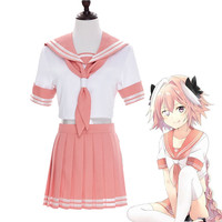 Anime Fate Apocrypha Astolfo Cosplay Costumes Japanese Student Girls School Uniforms Halloween Christmas Sailor Suit Full
