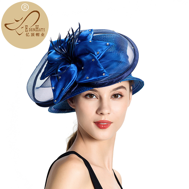 Promotion Women Formal Make Church Hats With Large Flower Trim Fancy Hat  Hats for Women S10-948 1d665daec8a