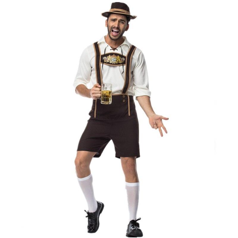 2019 New Style Adult Male Traditional Oktoberfest Costume Lederhosen Bavarian Octoberfest German Beer Men's Costume For Sale